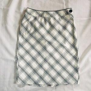 WHBM White with Black Plaid Pencil Skirt